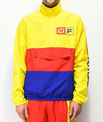 Odd Future Yellow, Red & Blue Colorblock Windbreaker Anorak Jacket