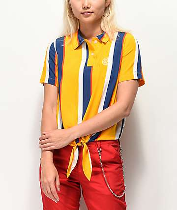Odd Future Yellow & Blue Striped Front Knot Button Up Shirt