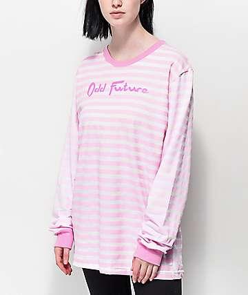 Odd Future camiseta de manga larga a rayas rosas