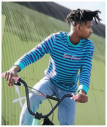 Odd Future camiseta de manga larga turquesa y morada de rayas
