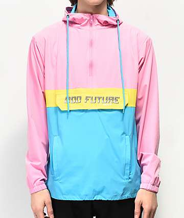 Odd Future chaqueta anorak rosa, amarilla y azul neón