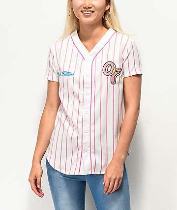 Odd Future jersey de béisbol blanca y rosa a rayas