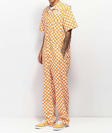 Odd Future peto de trabajo a cuadros naranja y blanco