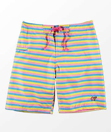 Odd Future shorts de baño de rayas multicolor