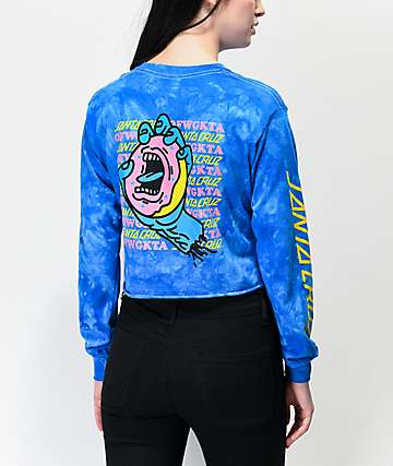 Odd Future x Santa Cruz Donut Hand Blue Tie Dye Long Sleeve Crop T-Shirt