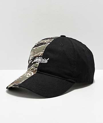 Official 50-50 Camo & Black Strapback Hat
