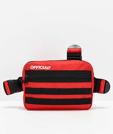 Official bolso rojo de tres correas