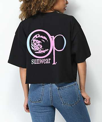 Op Big Circle Iron Black Crop T-Shirt