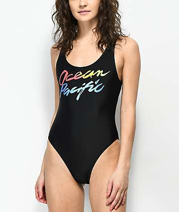 Op Party Wave Black One Piece Swimsuit
