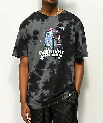 Open925 Midnight Arcade Black Tie Dye T-Shirt