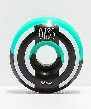 Orbs Wheels Apparitions Split 56mm 99a Teal & Black Skateboard Wheels
