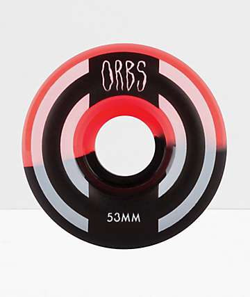 Orbs Wheels Apparitions Splits 53mm 99a Neon Coral & Black Skateboard Wheels