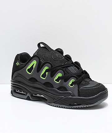 Osiris D3 2001 Black, Green & Charcoal Skate Shoes