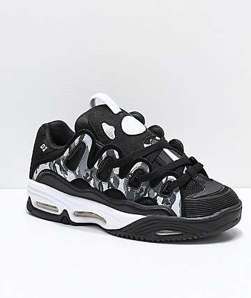 Osiris D3 2001 Black, White & Grey Camo Skate Shoes