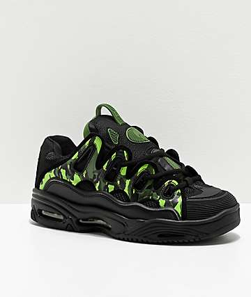 Osiris D3 2001 Black & Green Camo Skate Shoes