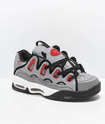Osiris D3 2001 Grey, Red & Black Skate Shoes