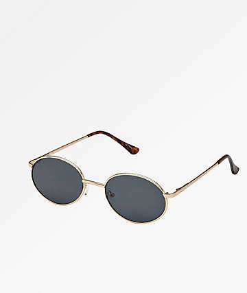 Oval Rounds Gold & Black Sunglasses