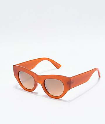 Oversized Round Frame Burnt Orange Sunglasses
