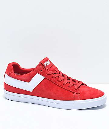 PONY Top Star Lo Red & White Suede Shoes