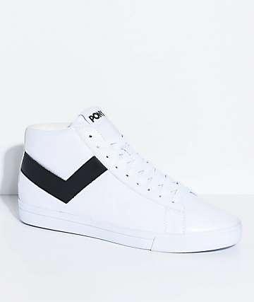 PONY Topstar Hi White & Black Shoes