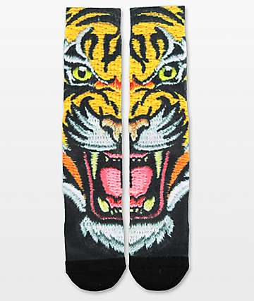 PSD Souvenir Tiger Face Crew Socks