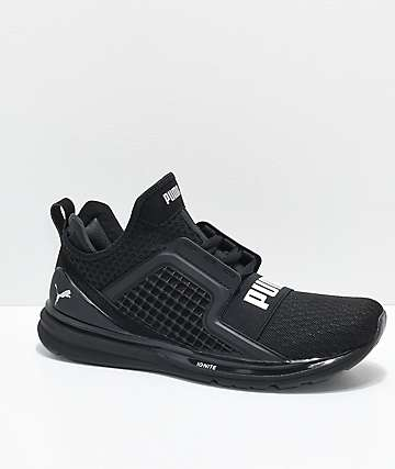 PUMA  Ignite Limitless All Black Knit Shoes