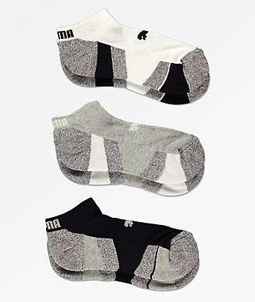 PUMA 3 Pack Low Cut Black, Grey & White Socks