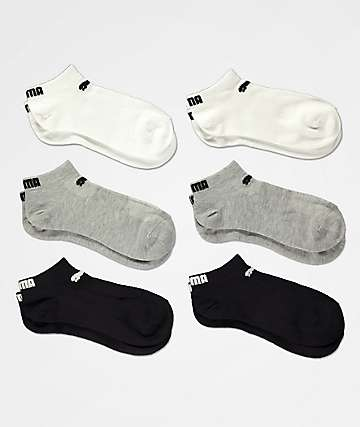 PUMA 6 Pack Low Cut Black, Grey & White Socks
