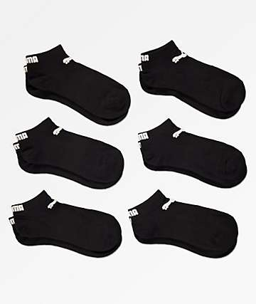 PUMA 6 Pack Low Cut Black Socks