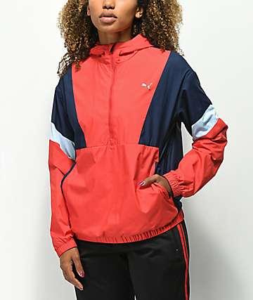 PUMA Ace chaqueta cortavientos roja y azul marino