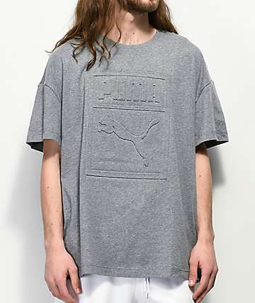 PUMA Archive Embossed Logo Grey T-Shirt