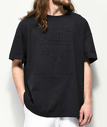 PUMA Archive camiseta negra con logotipo en relieve