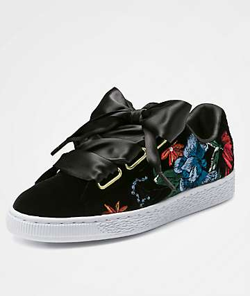 PUMA Basket Heart Embroidered Black Shoes