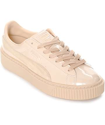 PUMA Basket Platform Patent Frappe Shoes (Womens)