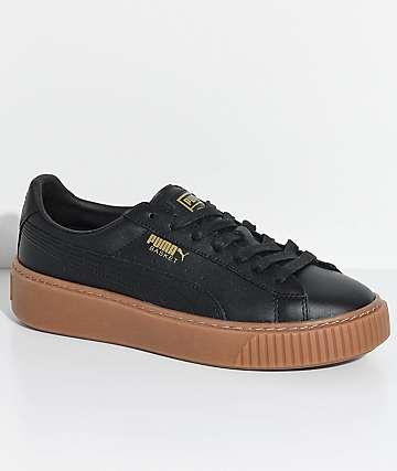 PUMA Basket Platform zapatos en negro y goma