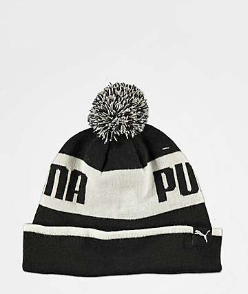 PUMA Block Black & White Pom Beanie