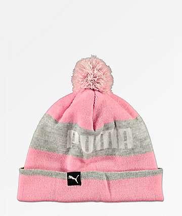 PUMA Block gorro negro y rosa con pompón