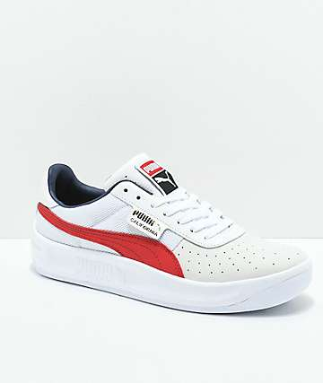 PUMA California Casual White & Red Shoes