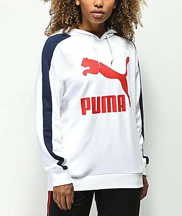PUMA Classic Logo T7 sudadera con capucha blanca