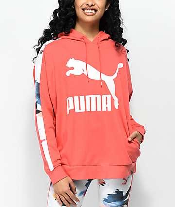 PUMA Classics Logo T7 AOP Coral Hoodie