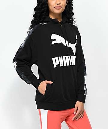 PUMA Classics Logo T7 AOP sudadera negra con capucha
