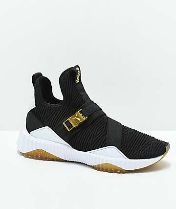 PUMA Defy Varsity Mid Black & Gold Shoes