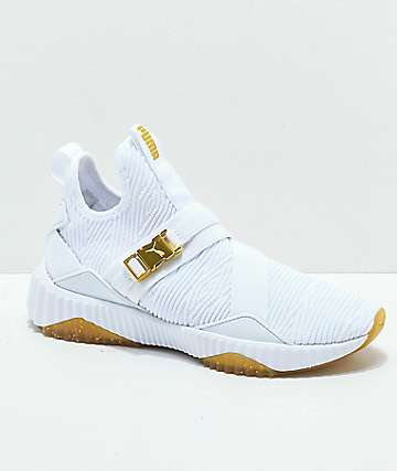 PUMA Defy Varsity Mid White   Gold Shoes 86a83dad9
