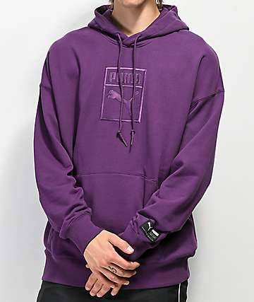 PUMA Downtown Oversized Purple Hoodie