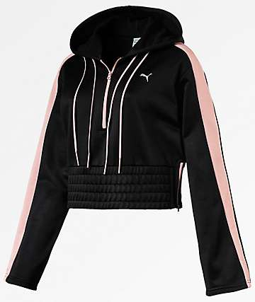 PUMA En Pointe Savannah Black Half Zip Hoodie