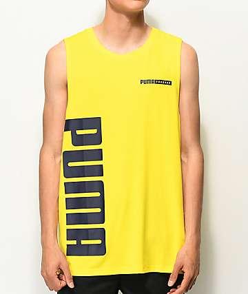 PUMA Forever camiseta sin mangas amarilla y negra