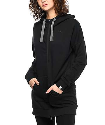 PUMA Fusion Elongated Black Zip Up Hoodie