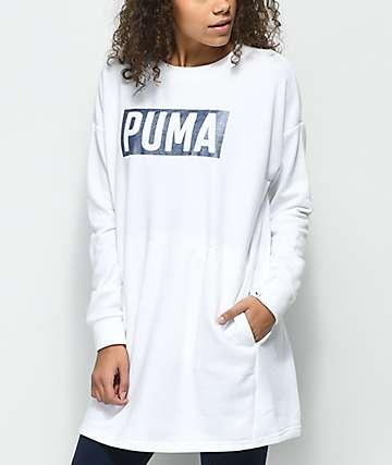 PUMA Fusion White Glitter Crew Neck Sweatshirt