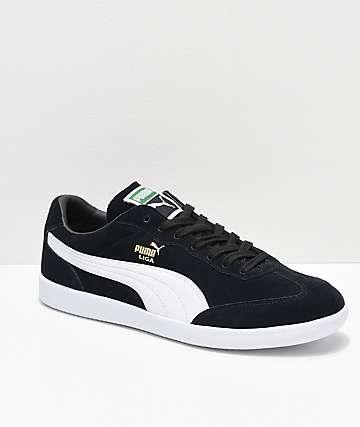 PUMA Liga zapatos de ante negro y blanco