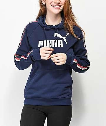 PUMA Logo Taped sudadera con capucha azul marino